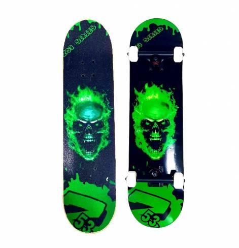 Скейтборд Z53 зеленый череп