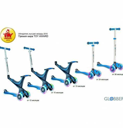GLOBBER EVO 5 in 1 с 3 светящимися колесами Sky Blue